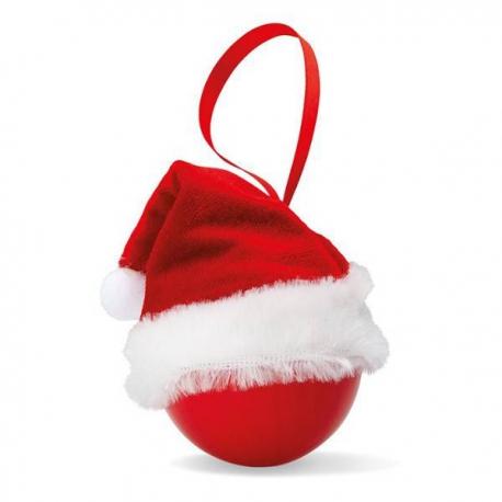 Vianočná guľa s mikulášskou čapicou