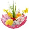 Háčkované veľkonočné vajíčka v háčkovanom košíku