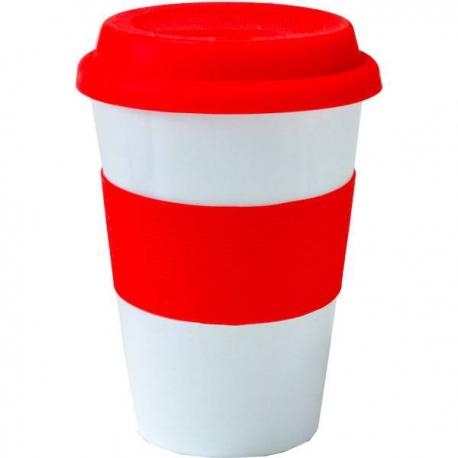 Červený keramický hrnček na horúce nápoje s vrchnákom