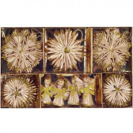 Vianočné slamené dekorácie - zlaté 26 kusov