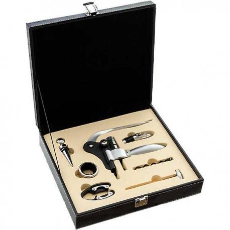 Páková vývrtka na víno v čiernom kufríku s príslušenstvom