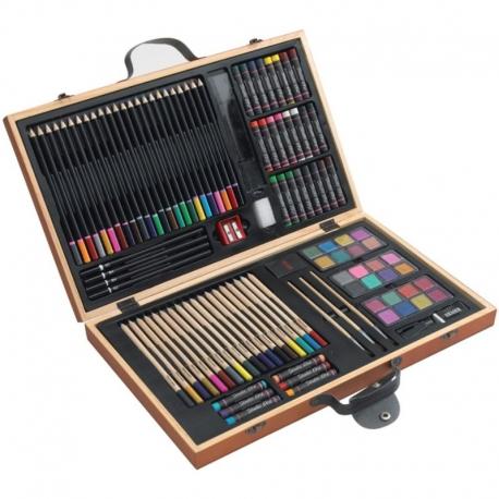 Kreslenie pre deti súprava 88 kusov v drevenom kufríku