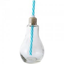 Fľaša v tvare žiarovky s modrou slamkou