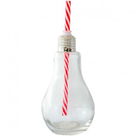 Fľaša žiarovka s červenou slamkou