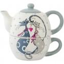 Keramický čajník so šálkou mačičky