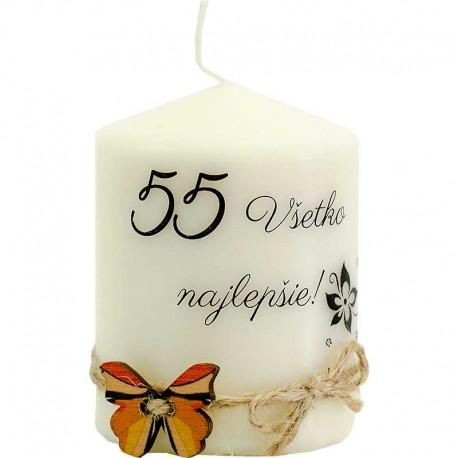 Darček na 55 narodeniny - sviečka s motýlikom