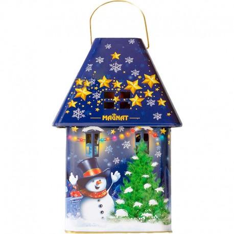 Modrý lampáš so sladkosťami na Mikuláša