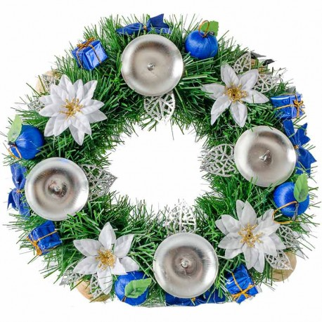 Vianočný adventný veniec modrá biela 28 cm