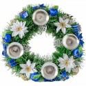Vianočný adventný veniec modrá biela