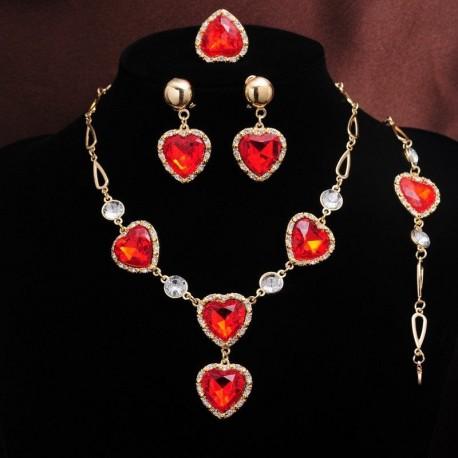 Srdiečková súprava štrasovej bižutérie pre zaľúbených