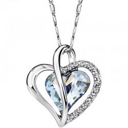 Srdiečkový náhrdelník s modrým srdiečkom