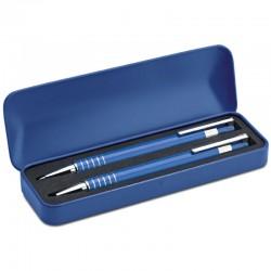 Pero a ceruzka v kovovej krabičke modrá farba