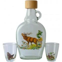 Fľaša s pohárikmi pre poľovníka
