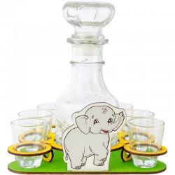 Sloník pre šťastie s fľašou a pohárikmi
