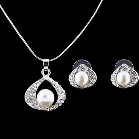 Náušničky, prívesok s perličkami