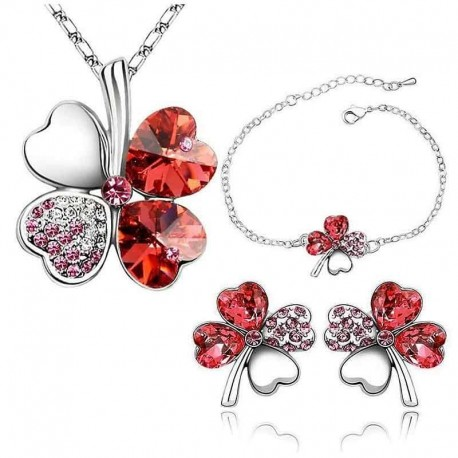 Červený štvorlístok súprava náhrdelník, náramok, náušnice