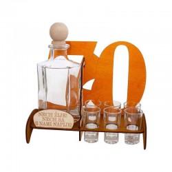 Darček na sedemdesiatku - fľaša s pohárikmi
