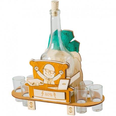 Darček pre šéfa - fľaša s pohárikmi