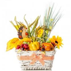 Jesenná dekorácia v košíku