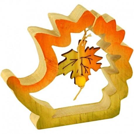 Vyrezávaný ježko z dreva - dekorácia na jeseň