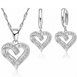 Set náhrdelník srdiečko s náušnicami