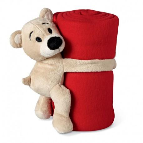 Červená fleecová deka s mackom