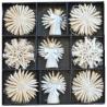 Slamené ozdoby na vianočný stromček perleťové - 33 kusov