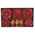 Vianočné slamené ozdoby - červeno zlaté 26 kusov