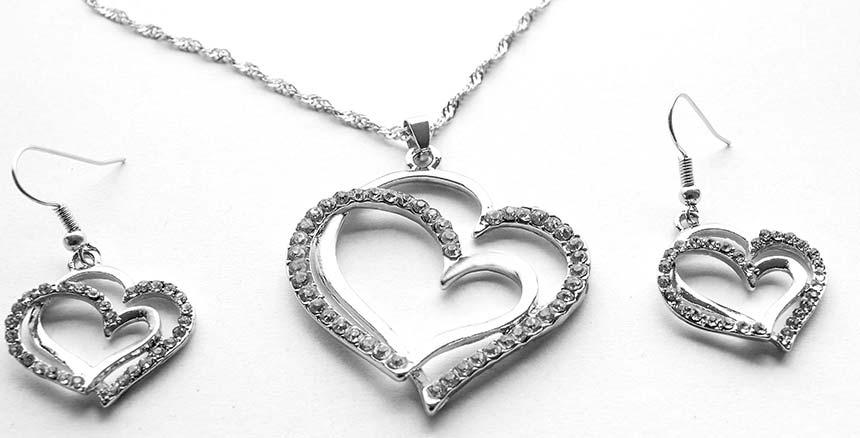 Detail na náušnice a náhrdelník srdiečka