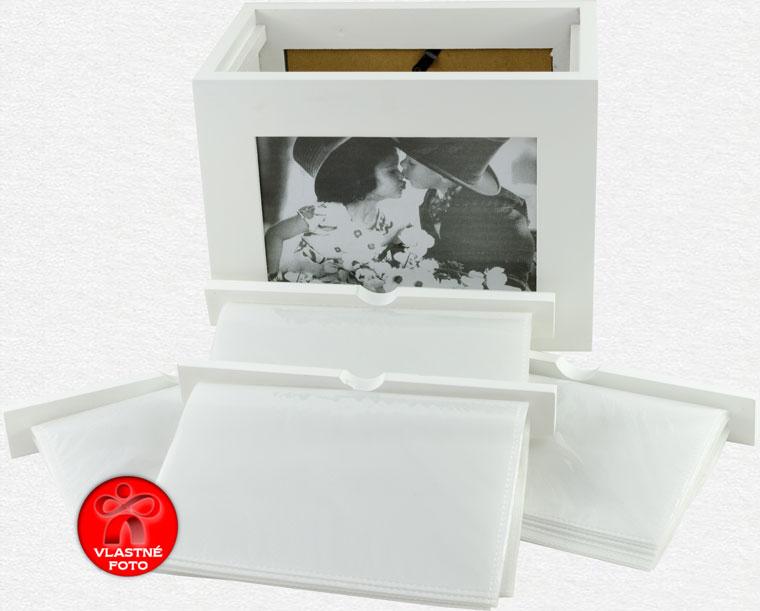 Detail zásobníkov v bielom fotoalbume