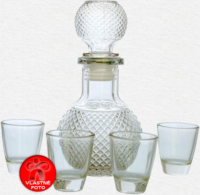 Sklenená fľaša s pohárikmi