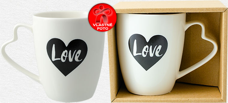 Hrnček Love v darčekovej krabičke a zo zadnej strany