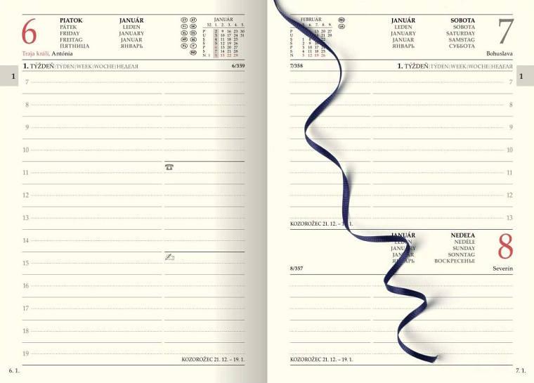 Detail vnútorných strán 15 mesačného diára