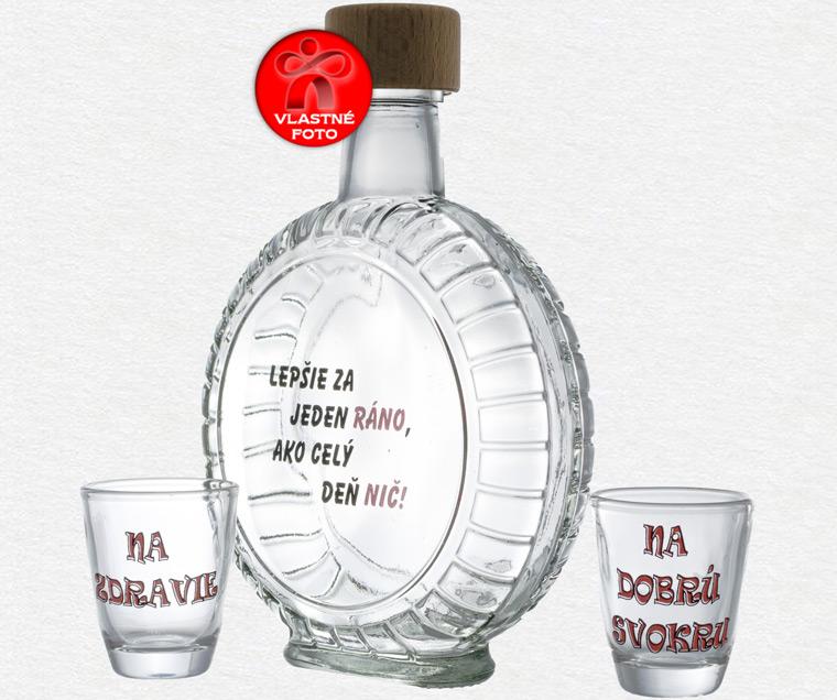 Krásny dizajn fľaše v tvare kolesa s pohárikmi
