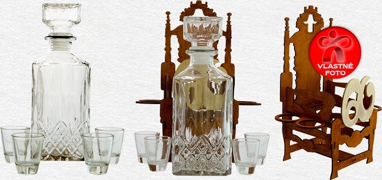 Darček na šesťdesiatku - trón fľaša s pohárikmi