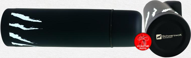 Detail termosky Schwarzwolf s detailom na dolnú časť s logom