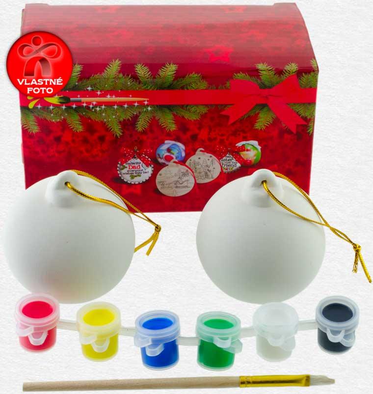 Vianočné gule na vymaľovanie s darčekovou krabičkou