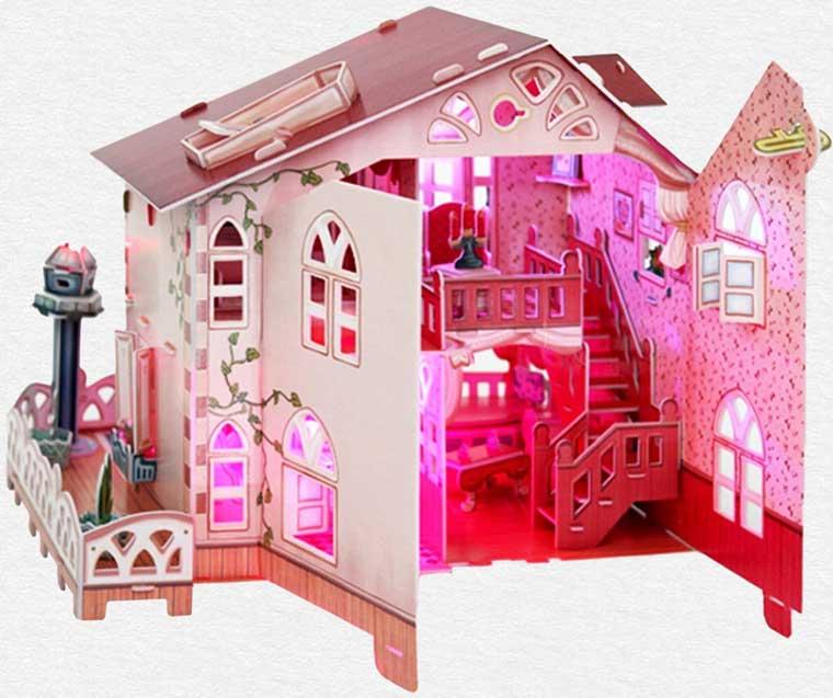 Víkendový domček puzzle 3D s vnútorným osvetlením so zadnej strany